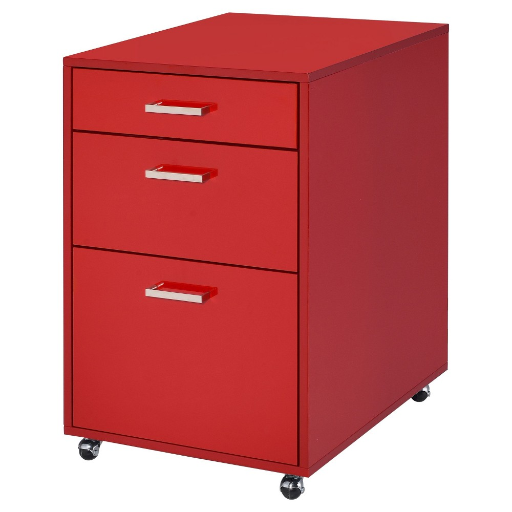 Image of 3 Drawer File Cabinet Red Chrome - Acme Furniture