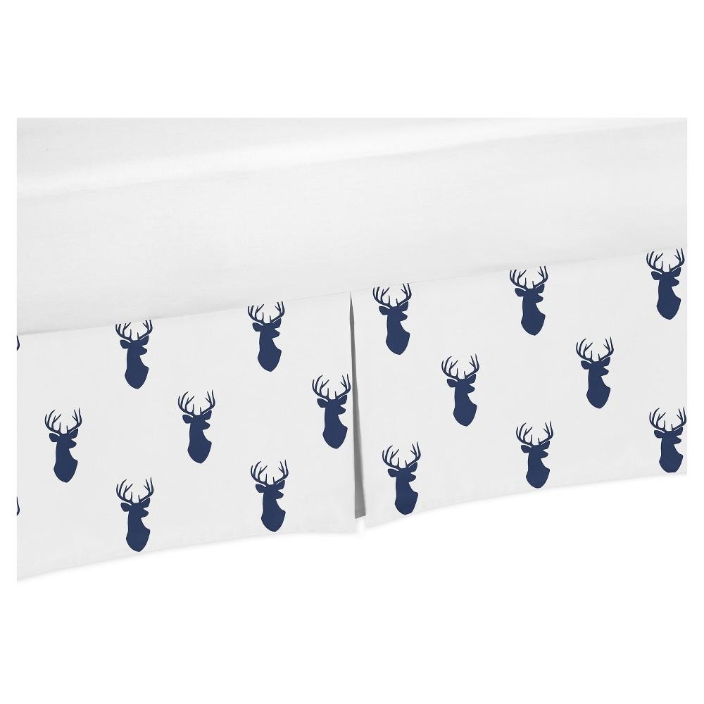 Image of Sweet Jojo Designs Crib Skirt - Navy & White Stag, White Blue