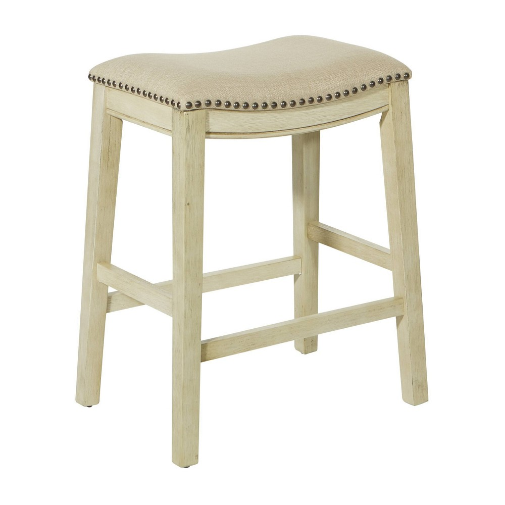 "Image of ""24"""" Saddle Stool Beige - OSP Home Furnishings"""