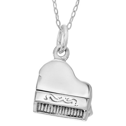 Women's Journee Collection Piano Pendant Necklace in Sterling Silver - Silver (18'') - image 1 of 3