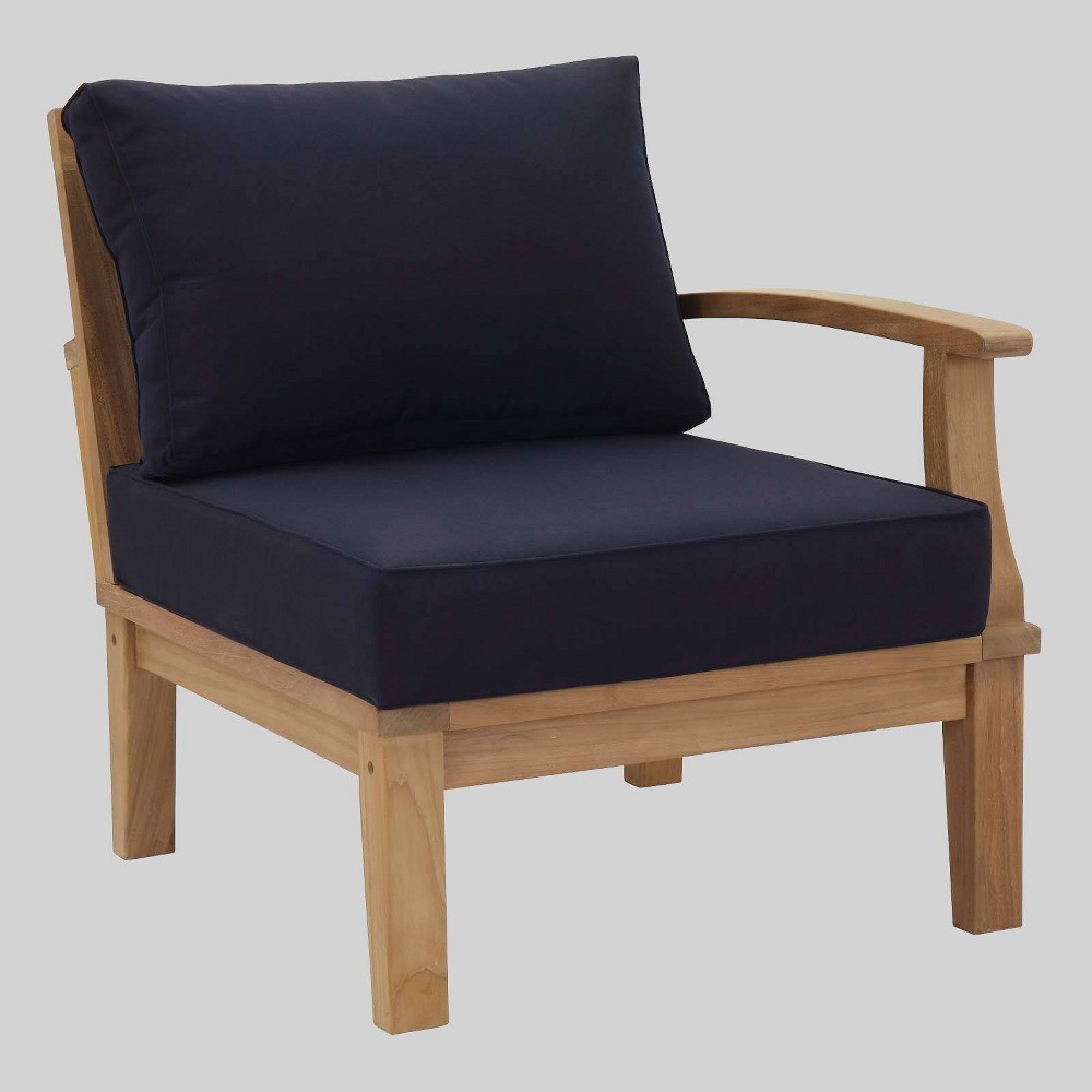 Marina Outdoor Patio Teak Right-Facing Sofa Navy (Blue) - Modway