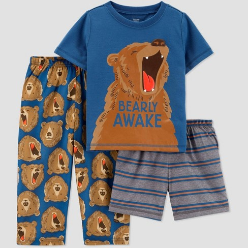 Toddler Boys' 3pc Bear Poly Pajama Set - Just One You® made by carter's Blue - image 1 of 1