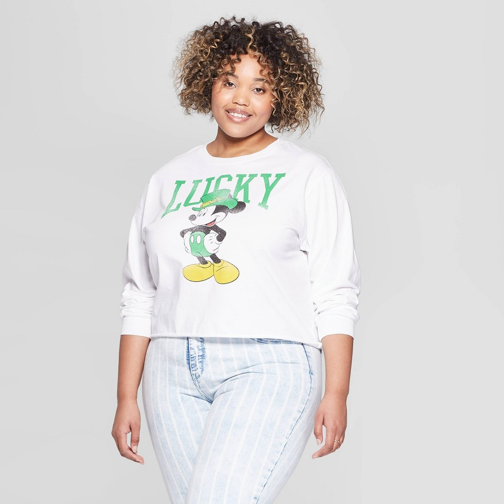 Women's Plus Size Long Sleeve Lucky Mickey Cropped T-Shirt (Juniors') - White 1X