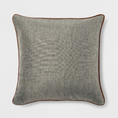 Faux Leather Piping Square Throw Pillow Gray - Threshold™