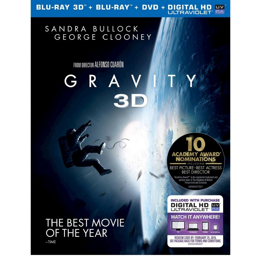 Gravity [3 Discs] [Includes Digital Copy] [UltraViolet] [3D/2D] [Blu-ray/Dvd]