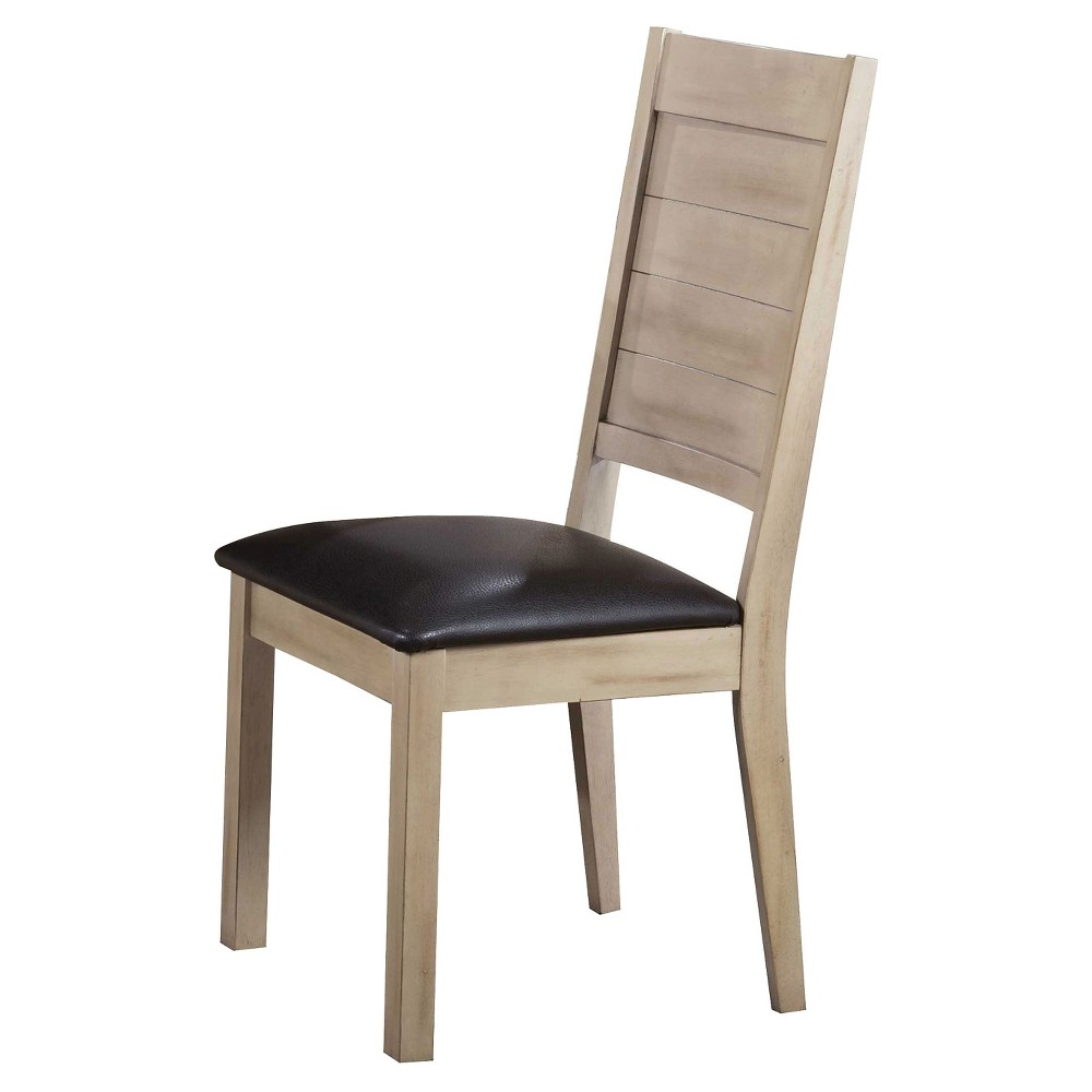 Ramona Side Dining Chair (Set of 2) - Dark Walnut and Antique Beige - Acme