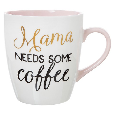 27oz Stoneware Mama Needs Some Coffee Mug White/Pink - Threshold™ - image 1 of 1