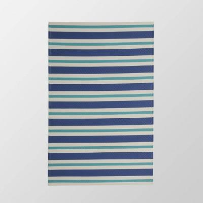 4'x6' Alveton Outdoor Modern Scatter Rug Turquoise/Cream - Christopher Knight Home