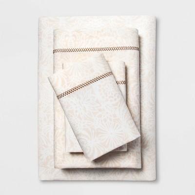 Twin/Twin XL Cotton Percale Print Sheet Set Tan - Opalhouse™