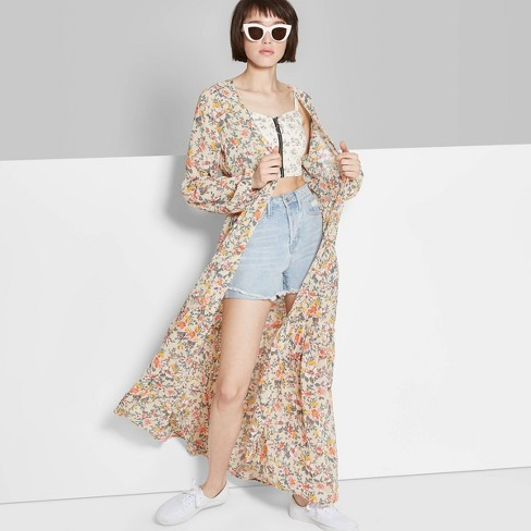 Women's Floral Print Long Sleeve Tiered Duster Kimono Jacket - Wild Fable™ Beige - image 1 of 10