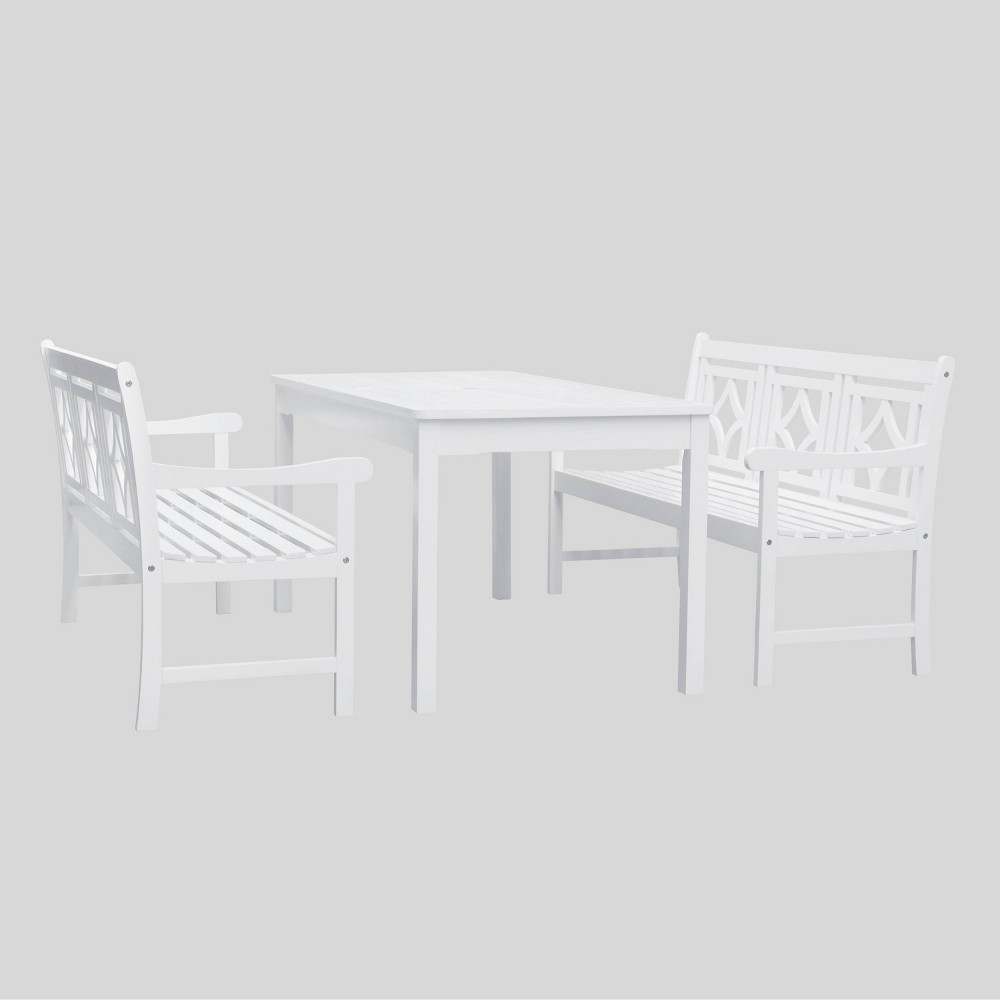 Bradley 3pc Rectangle Wood Outdoor Patio Dining Set - White - Vifah