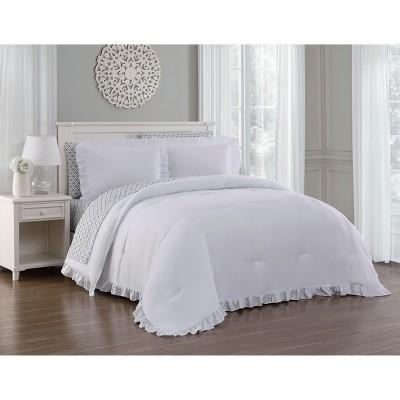 Queen 7pc Melody Comforter Set White - Blush