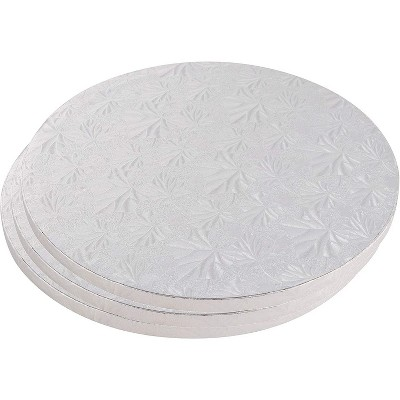 Juvale 3 Piece Cake Boards Rounds, Silver Pizza Base Disposable Cake Drums, Corrugated Paper, 14 In