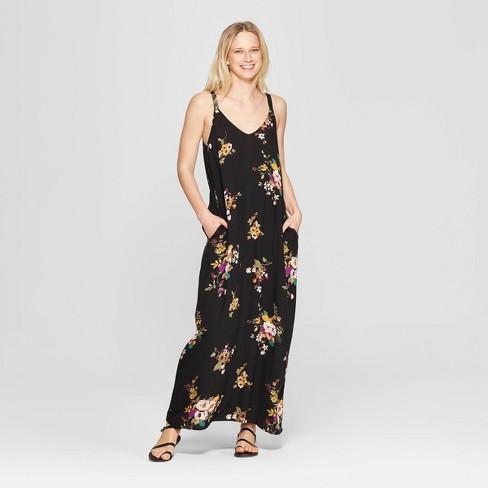 e9ea5e260c Women's Floral Print V-Neck Strappy Sack Maxi Dress - Xhilaration™ Black /Olivine