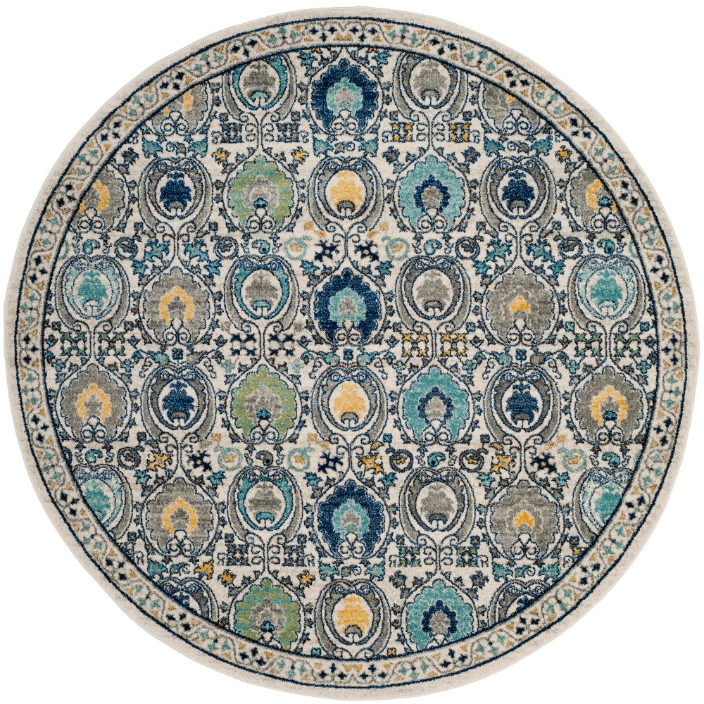 67 Medallion Round Area Rug Ivory/Gray - Safavieh Coupons