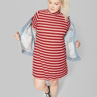 c90ff82f21 Women s Plus Size Striped Short Sleeve Mock Neck Rib Knit Dress - Wild  Fable™ Red