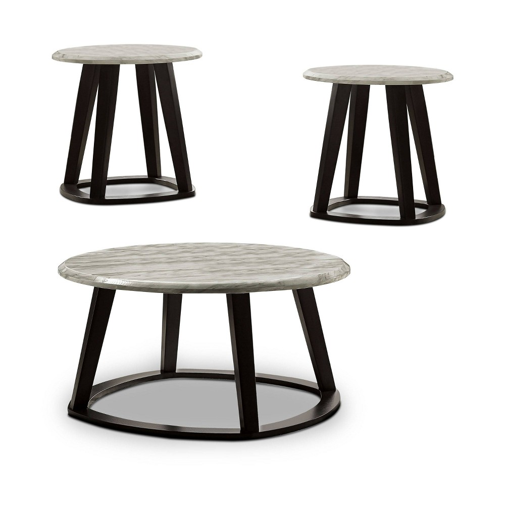 Coupons 3pc Ives Solid Wood Coffee Table Set Gray - HOMES: Inside + Out