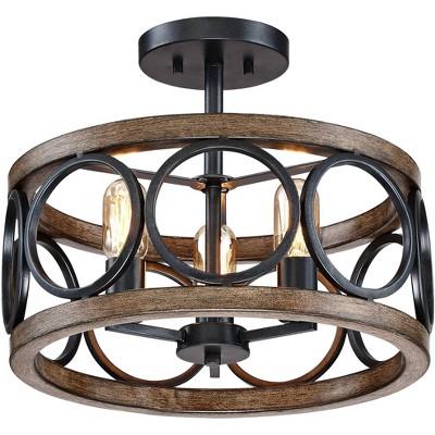"Franklin Iron Works Rustic Farmhouse Ceiling Light Semi Flush Mount Fixture LED Black Circle Wood Grain 16"" Wide 3-Light Bedroom"