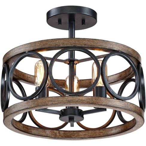 "Franklin Iron Works Rustic Farmhouse Ceiling Light Semi Flush Mount Fixture LED Black Circle Wood Grain 16"" Wide 3-Light Bedroom - image 1 of 4"