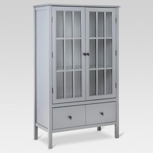 windham tall storage cabinet with drawer gray - threshold™