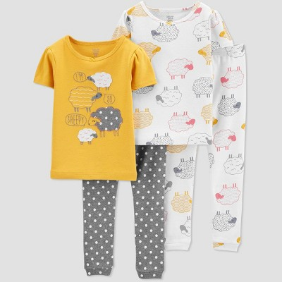 Toddler Girls' 4pc Sheep Pajama Set   Just One You® Made By Carter's Yellow by Just One You® Made By Carter's Yellow