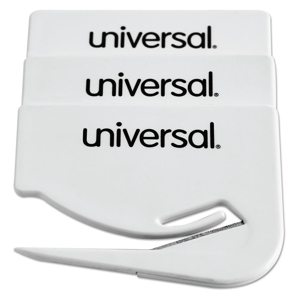 Universal Letter Slitter Hand Letter Opener w/Concealed Blade, 2 1/2, White, 3/Pack