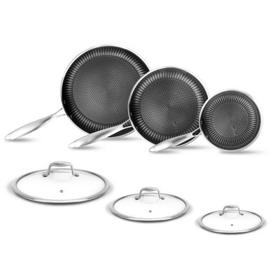 NutriChef Nonstick 6 Piece Tri Ply Stainless Steel Kitchen Cookware Frying Pan Set with Matching See Through Tempered Glass Lids