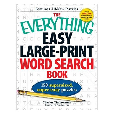 Everything Easy Large-Print Word Search Book : 150 Supersized, Super-Easy Puzzles (Large Print) - image 1 of 1