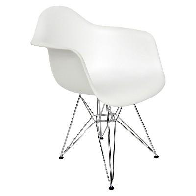 Set of 2 AEON Dijon Armchair White with Chrome Legs