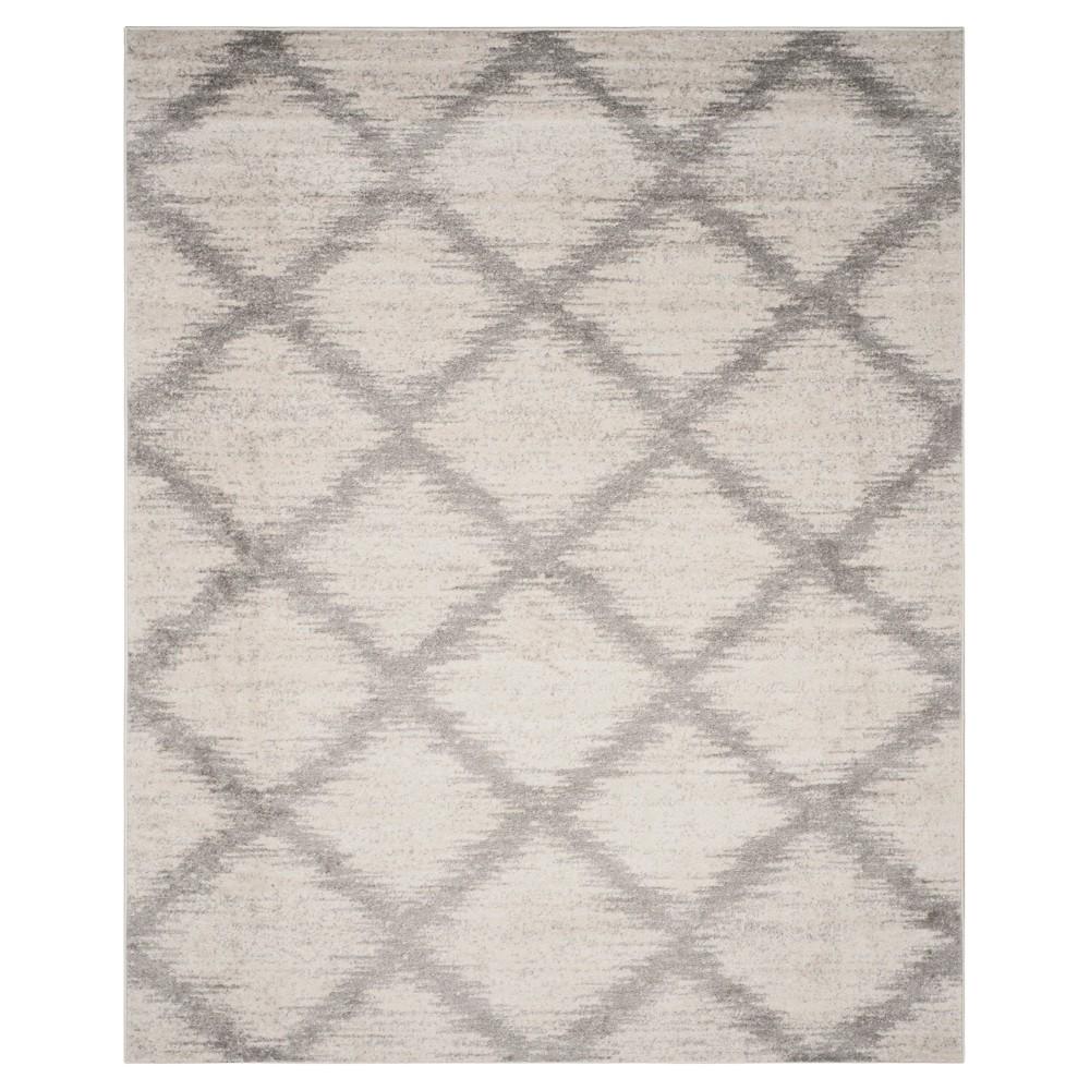 Ivory/Silver Geometric Loomed Area Rug - (9'X12') - Safavieh, White