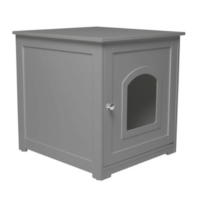 zoovilla Kitty Litter Loo Indoor Hidden Litter Box Enclosure Furniture, Litter Box Cabinet with Framed Panels and Arched Doorways, Gray