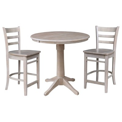 """36"""" Cane Round Extendable Dining Table with 12"""" Drop Leaf and 2 Emily Counter Height Barstools - International Concepts"""