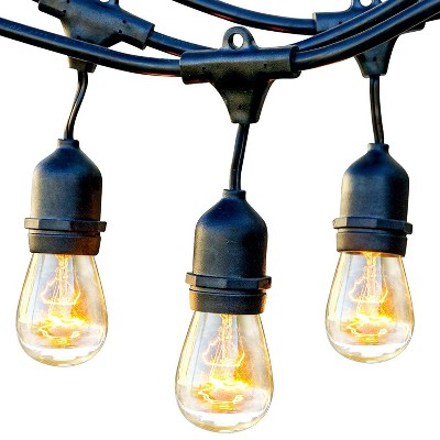 Brightech Ambience Pro Outdoor String Lights with 15 Hanging Sockets & White LED Edison Bulb for Outside, Backyard, Cafe, Patio, or Porch, 48 Foot
