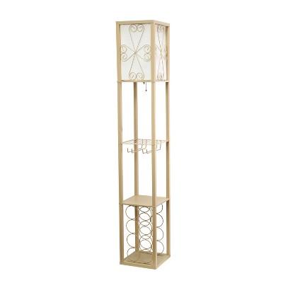 Etagere Organizer Storage Shelf Floor Lamp with Linen Shade Tan - Simple Designs