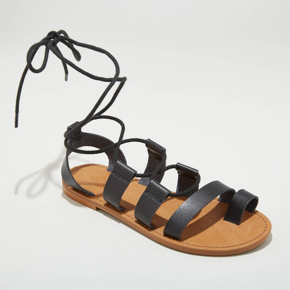 Image of Women's Paige Lace Up Gladiator Sandals - Universal Thread Black 9.5