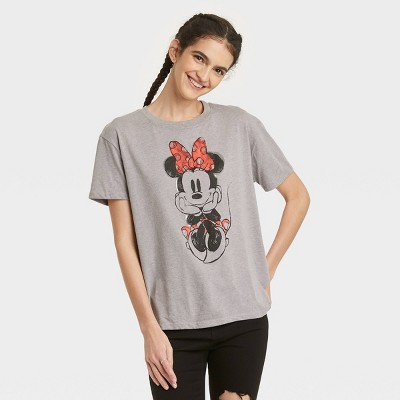 Women's Minnie Mouse Short Sleeve Graphic T-Shirt - Gray