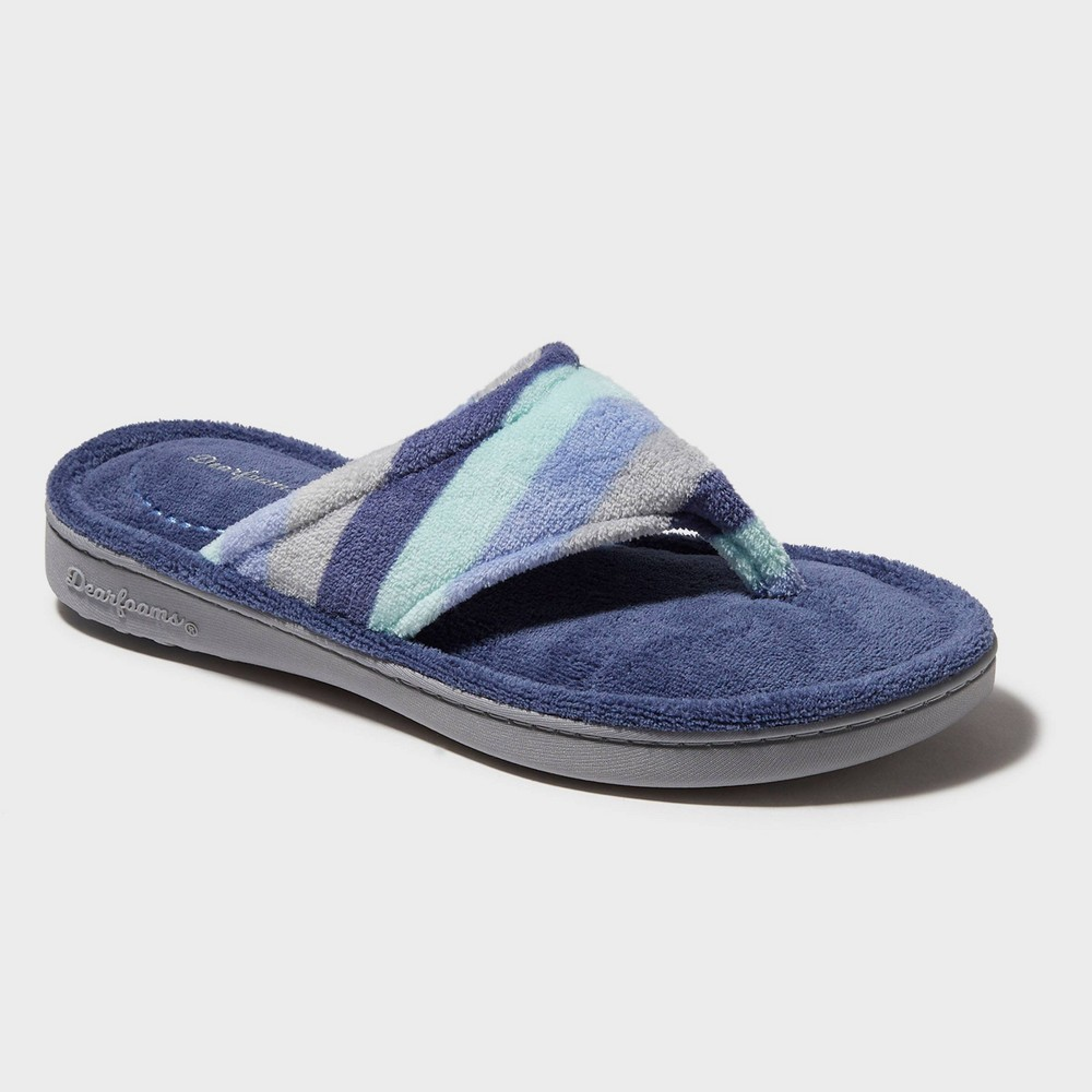 Image of Women's Dearfoams Terry Stripe Thong Slippers - Blue M (7-8), Size: Medium (7-8), Gray Green Blue