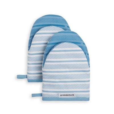 KitchenAid 2pk Cotton Albany Mini Oven Mitts Light Blue