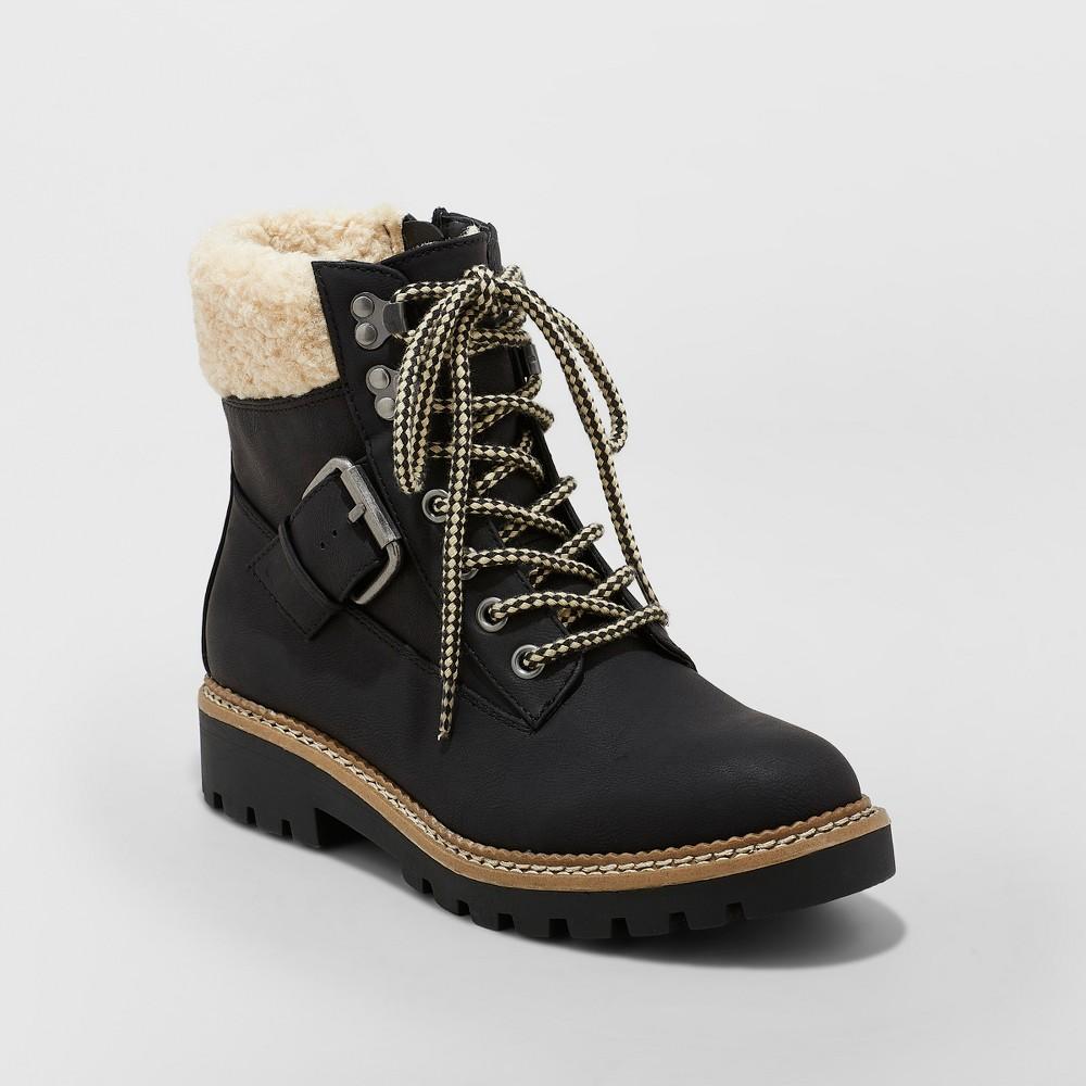 Women's Susan Sherpa Tipped Hiker Boots - Universal Thread Black 7