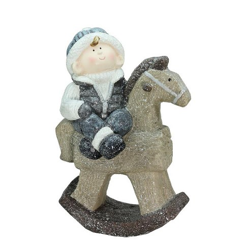 """Northlight 18"""" Sparkly Little Boy on Rocking Horse Decorative Christmas Tabletop Figure - image 1 of 2"""