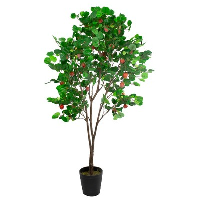 Northlight 6.5' Green and Red Potted Artificial Apple Tree with Two Tone Green Leaves