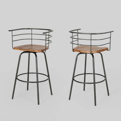Set of 2 Frothingham Industrial Modern Swivel Barstool Dark Brown - Christopher Knight Home