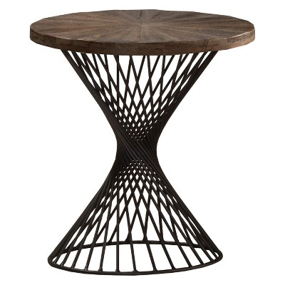 Kanister End Table Wood/Metal Weathered Walnut Finished/Dark Pewter - Hillsdale Furniture