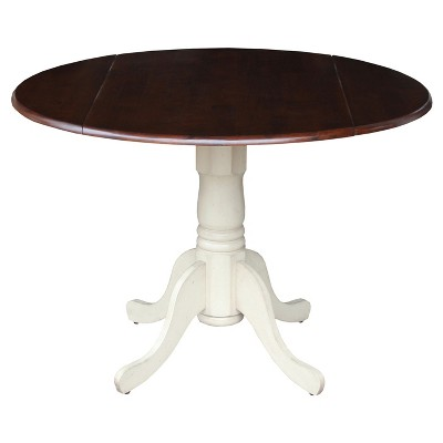 """42"""" Mason Round Dual Dining Table Antiqued Almond/Espresso - International Concepts"""