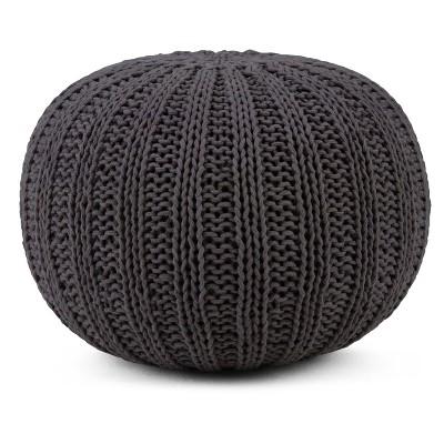Shelby Hand Knit Round Pouf Slate Gray - Simpli Home