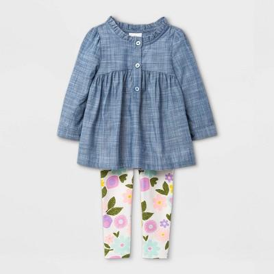 Baby Girls' Chambray Tunic Top & Leggings Set - Cat & Jack™ Dark Blue/Yellow