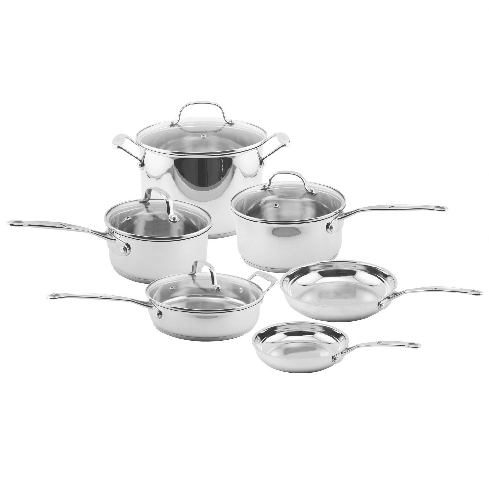Berghoff EarthChef Premium 10pc Copper Clad Glass Lid Cookware Set, Shiney Silver