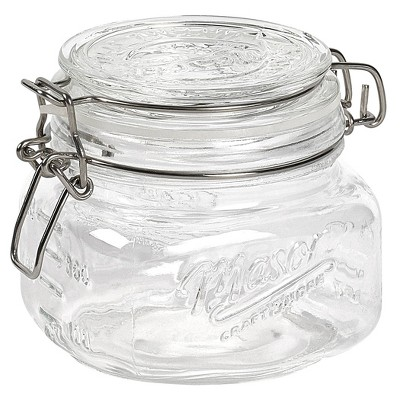 Mason Craft & More 17oz Set of 4 Tall Mini Clamp Jars
