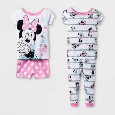 Baby Girls' Disney Mickey Mouse & Friends Minnie Mouse 4pc Pajama Set - White 18M