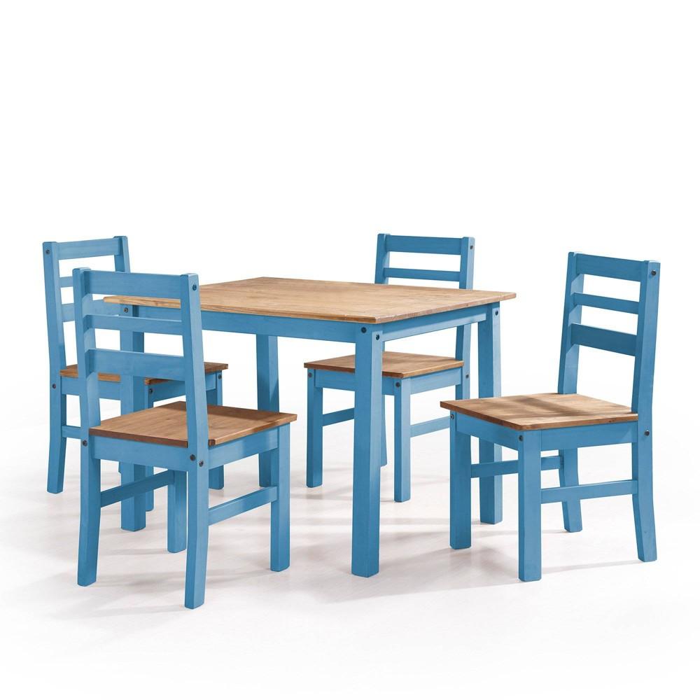 5pc Maiden Solid Wood Dining Set Wash Blue - Manhattan Comfort